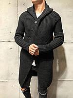 Кардиган мужской длинный вязаный черный молодёжный на пуговицах с капюшоном