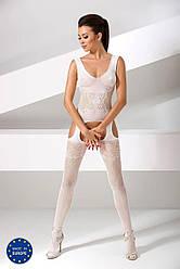 Бодистокинг Passion BS046 white, комбинезон с имитацией чулок 18+
