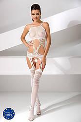 Бодистокинг Passion BS047 white, комбинезон, имитация топа, чулок и пояса 18+