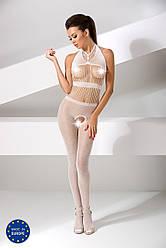 Бодистокинг Passion BS048 white, комбинезон, имитация колгот и открытого топа 18+