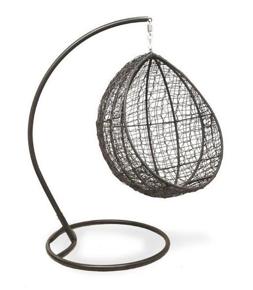 Кресло-качель Кокон лайт (110х96х190)см плетение кольцами стальная опора