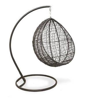 Кресло-качель Кокон лайт (110х96х190)см плетение кольцами стальная опора, фото 2