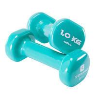 Пара гантелей для фитнеса мятные по 1 кг