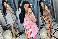 Платье-рубашка на кнопках с длинным рукавом /разные цвета, 42-46, ft-480/