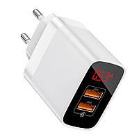 Сетевое зарядное устройство Baseus Mirror QC Digital Display, 2 порта USB, 3.4A, Белый (CCJMHA-A02)
