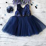 Нарядное синее платье с бантом на девочку на девочку 7. Размеры  98 см, фото 5