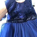 Нарядное синее платье с бантом на девочку на девочку 7. Размеры  98 см, фото 4