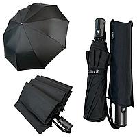 """Мужской складной зонт-полуавтомат на 10 спиц с системой """"антиветер"""" от Calm Rain, ручка прямая, черный, 352"""