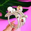 Оригинальное женское серебряное кольцо с жемчугом и золотом, фото 7