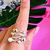 Оригинальное женское серебряное кольцо с жемчугом и золотом, фото 6