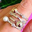 Оригинальное женское серебряное кольцо с жемчугом и золотом, фото 2