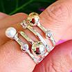 Оригинальное женское серебряное кольцо с жемчугом и золотом, фото 3