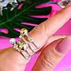 Оригинальное женское серебряное кольцо с жемчугом и золотом, фото 4