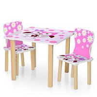 Детский столик деревянный с двумя стульчиками 506-63 Сова