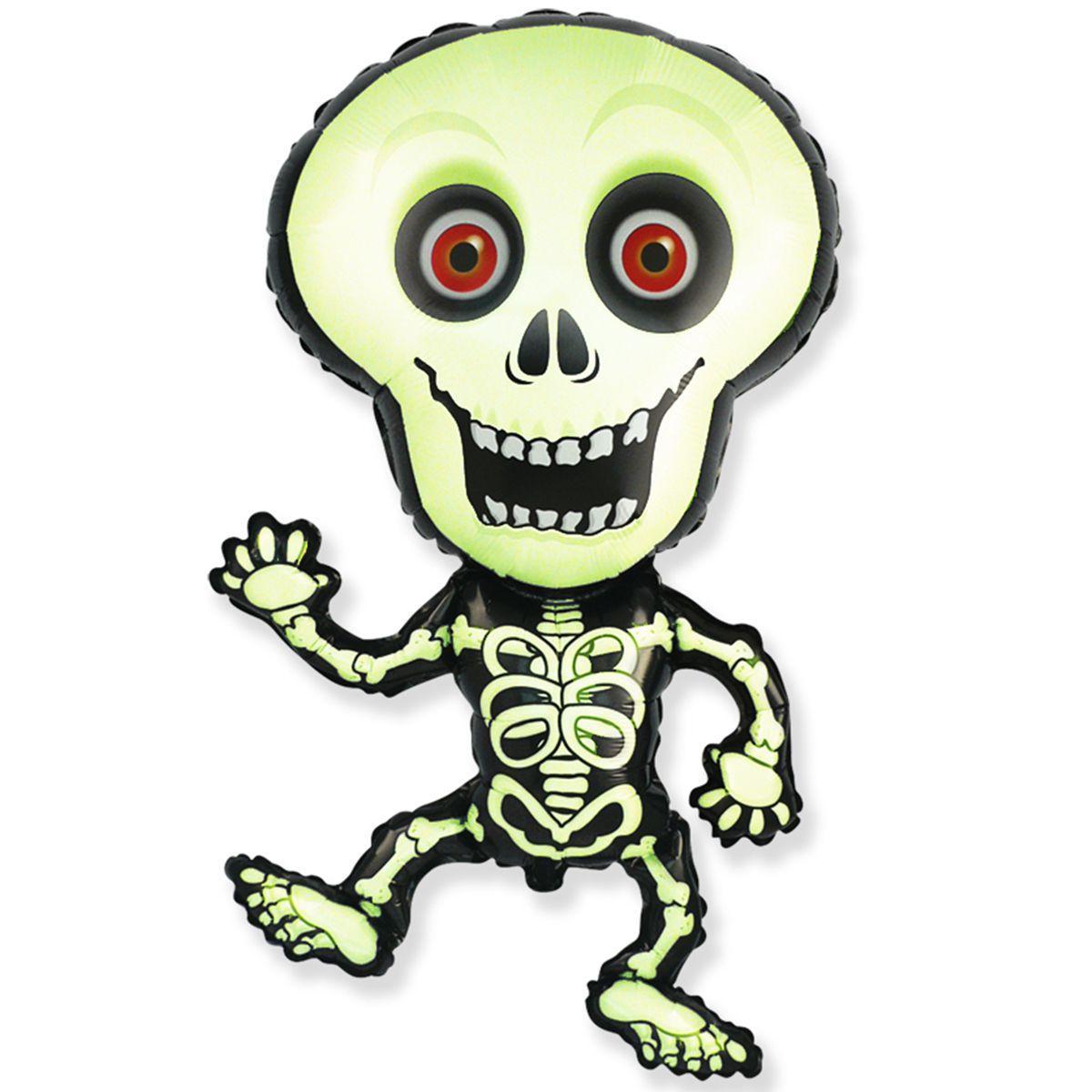 """FM 40"""" Фольгированные шары Фигура скелет зеленый"""
