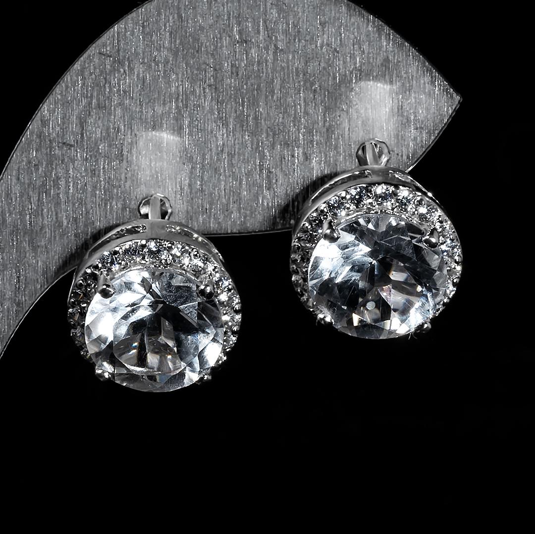 Серебряные серьги с горным хрусталем, 1295СГ