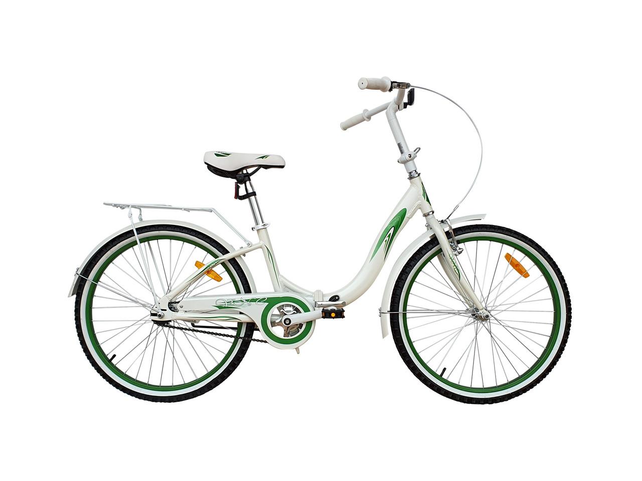 "Велосипед VNC Angely 24'' Folding, 24AN-30-WG, складной белый / зеленый 12"""