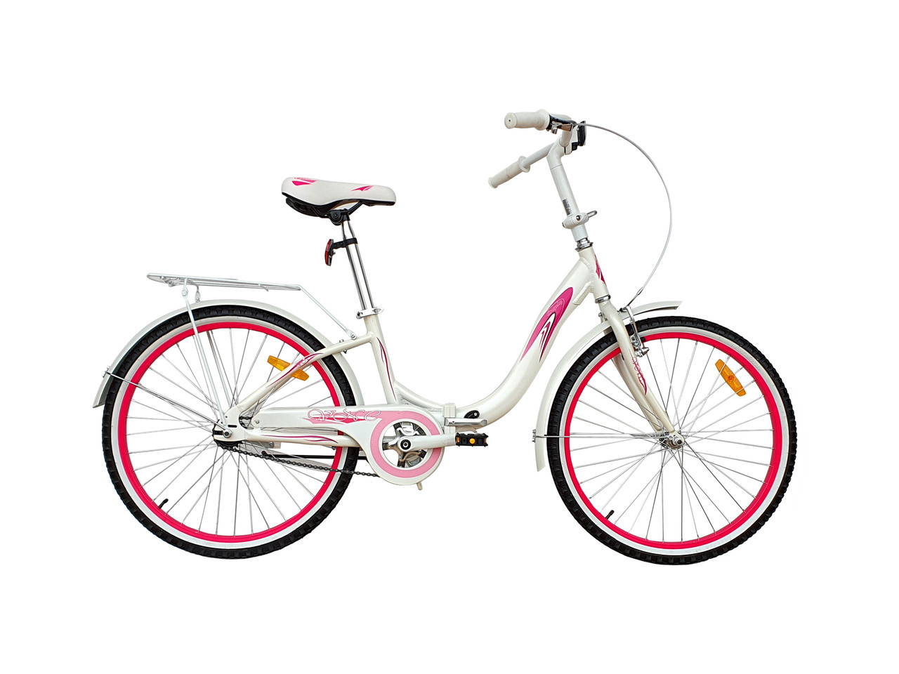 """Велосипед VNC Angely 24'' Folding, 24AN-30-WP, складной белый / фиолетовый 11"""""""