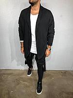 Кардиган-мантия мужской длинный вязаный черный молодёжный без застежки