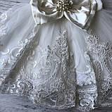 Нарядное белое платье с бантом на девочку на девочку 8. Размеры 3 мес, 9 мес, фото 3