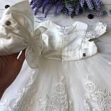 Нарядное белое платье с бантом на девочку на девочку 8. Размеры 3 мес, 9 мес, фото 4