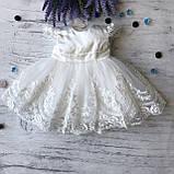 Нарядное белое платье с бантом на девочку на девочку 8. Размеры 3 мес, 9 мес, фото 5