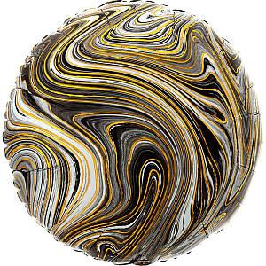 """А 18"""" Фольгированные шары Круг агат черный black marble s18"""