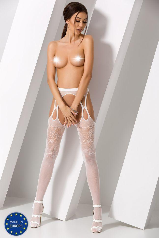 Эротические колготки-бодистокинг Passion S002 white, имитация кружевных чулок и пояса