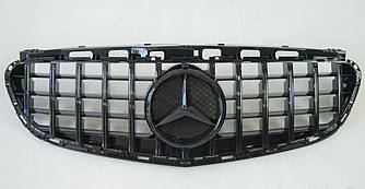 Решетка радиатора Mercedes w212 (13-16) стиль AMG GT (черный глянц)