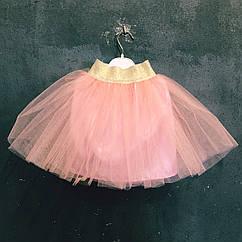Юбка пачка из фатина персиковая детская
