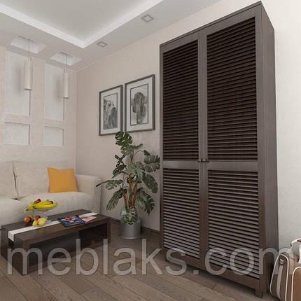 Шкаф с жалюзийными дверями из натурального дерева Сиеко 5ПОЛ 900х450х2080 Тавол, фото 2
