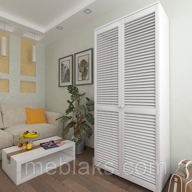 Шкаф с жалюзийными дверями из натурального дерева Сиеко 5ПОЛ 900х450х2080 Тавол
