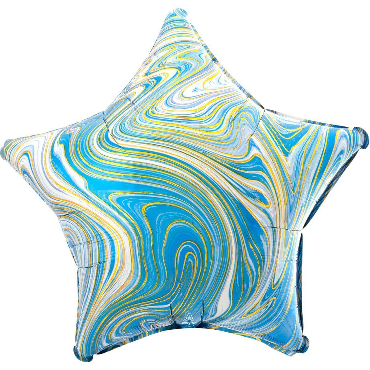 "А 18"" Фольгированные шары Звезда агат голубой blue marble s18"