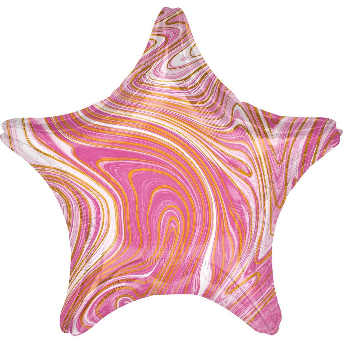 """А 18"""" Фольгированные шары Звезда агат розовый pink marble s18"""