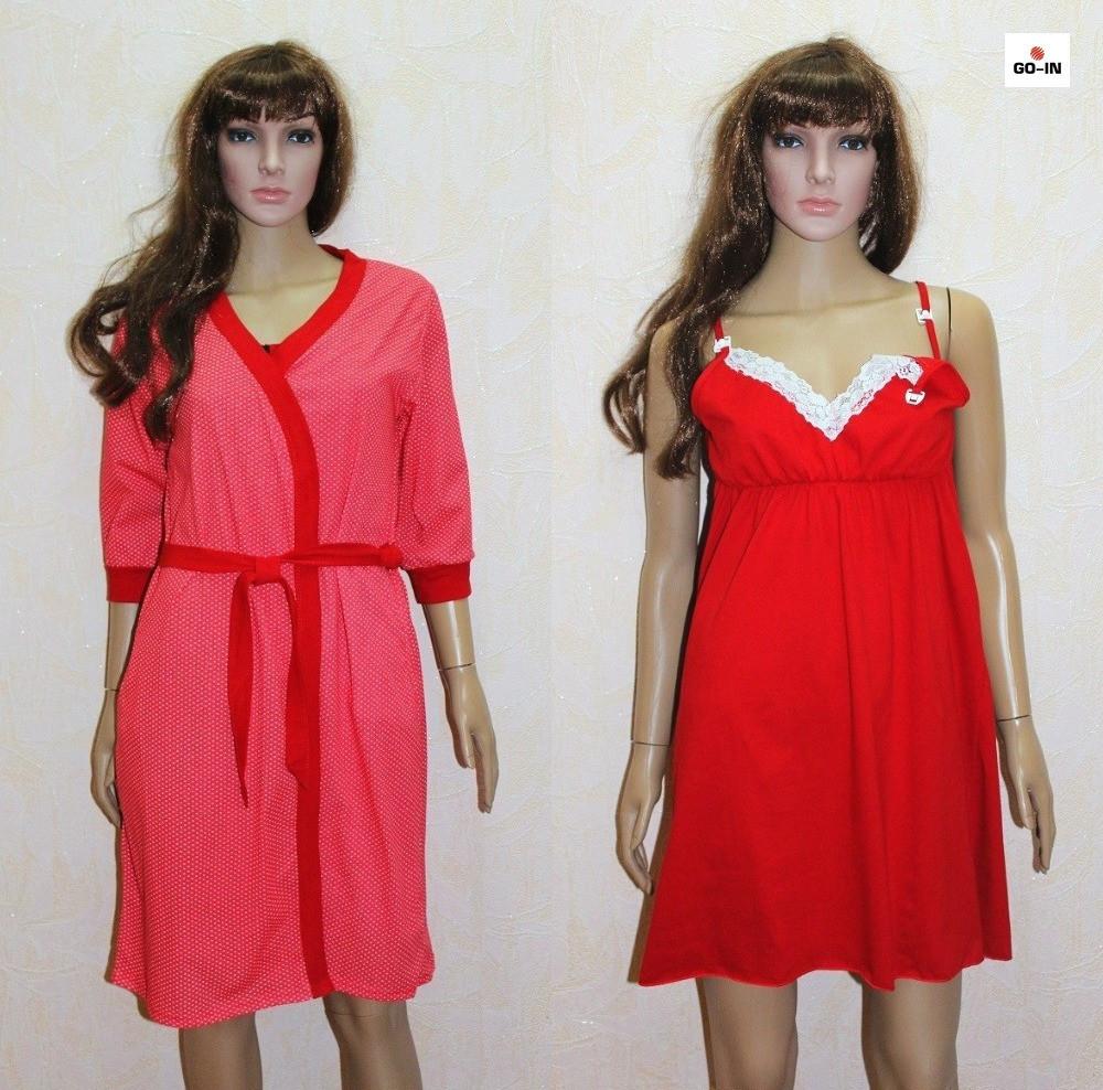 Комплект для кормления ночная сорочка и халат красный 44-54р.