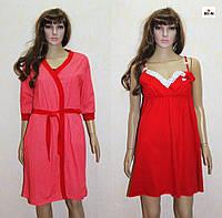 Комплект для кормления ночная сорочка и халат красный 44-54р., фото 1