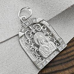 Срібна ікона Богородиця розмір 29х20 мм вага білі фіаніти 2.7 г
