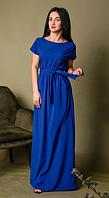 Длинное однотонное платье батал размеры 56-58,58-60
