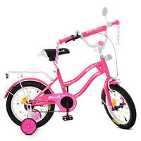 Велосипед детский PROF1 14д. XD1492 (1шт) Star, малиновый,свет,звонок,зерк.,доп.колеса, фото 1