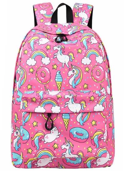 Рюкзак женский с Единорогами и Котиками Розовый