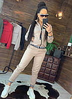Бежевый спортивный костюм на молнии, фото 1