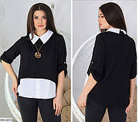 Классическая женская кофта имитация блузки размеры батал 52-58 арт 3028