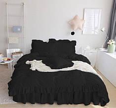 """Комплект постельного белья с рюшами """"Прованс"""". Цвет черный"""
