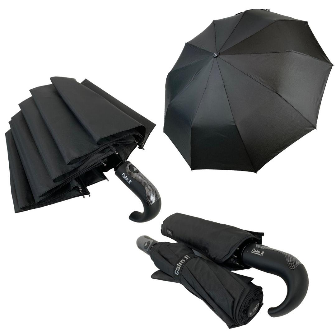 """Мужской складной зонт-полуавтомат на 10 спиц с системой """"антиветер"""" от Calm Rain, ручка крюк, черный, 355"""
