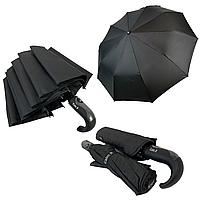 """Мужской складной зонт-полуавтомат на 10 спиц с системой """"антиветер"""" от Calm Rain, ручка крюк, черный, 355, фото 1"""
