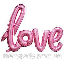 """Фольгированная надпись Love 16"""" (40 см) розовая металлик Китай"""