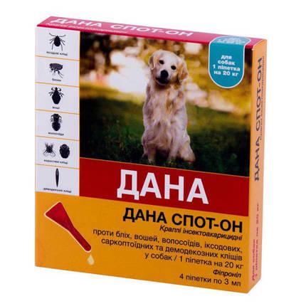 Краплі на холку Api-San Дана Спот-Він проти бліх, вошей і волосоїдів для собак та цуценят вагою від 20 кг, 4 х 3 мг, фото 2