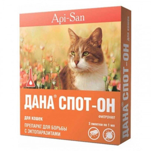 Краплі на холку Api-San Дана Спот-Він проти бліх, вошей і волосоїдів для котів вагою від 3 кг, 3 х 0,1 мл