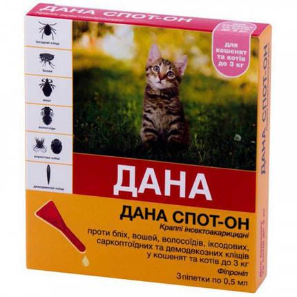 Капли на холку Api-San/Apicenna Дана Спот-Он против блох и вшей, для котят и кошек до 3 кг, 2×0.5 мл, фото 2