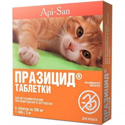 Таблетки Api-San Празицид при цестодозах и нематодозах для кошек, 6 табл х 200 мг, фото 2